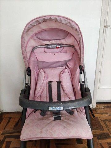 Carrinho de bebê rosa (usado) - Foto 3