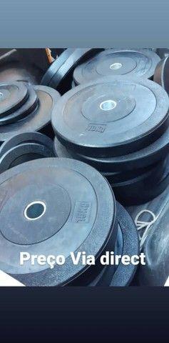 Anilhas Olímpicas Bumper - Crossfit - LPO - Academia - Musculação - Treinos - Foto 5