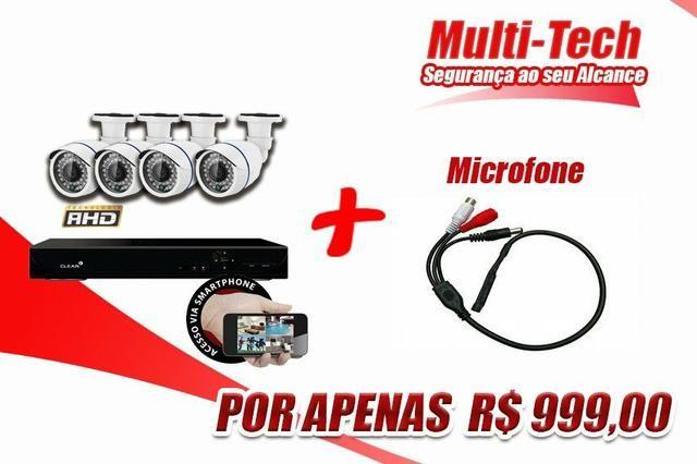 Kit CFTV 4 câmeras instaladas + Microfone
