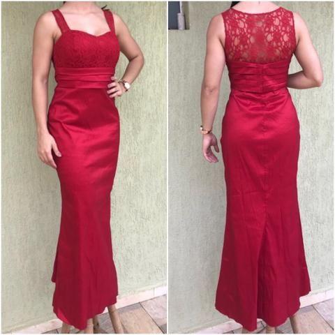 fc6ae8d55b254 Vestido longo vermelho com renda - Roupas e calçados - Jardim Novo ...