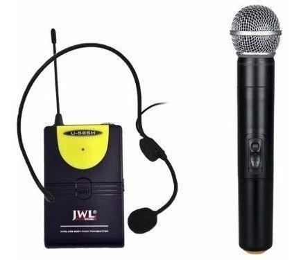 Kit Microfone Sem Fio JWL U-585h (Microfone Headset + Microfone de mão + Maleta)