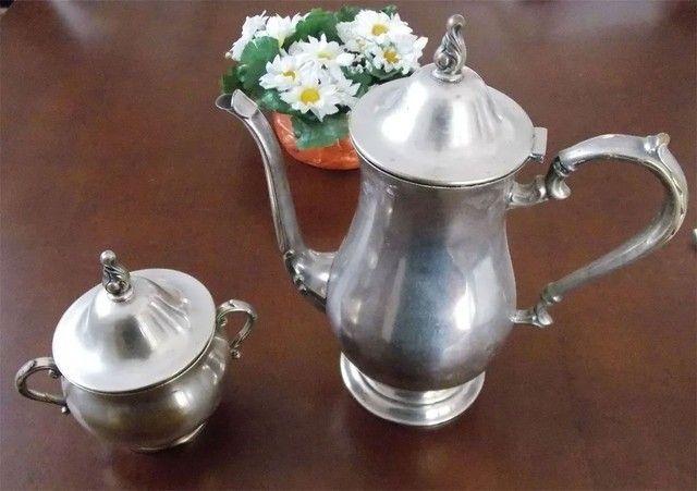 Conjunto prata 90 antigo bule e açucareiro - Venda ou Troca - Foto 2