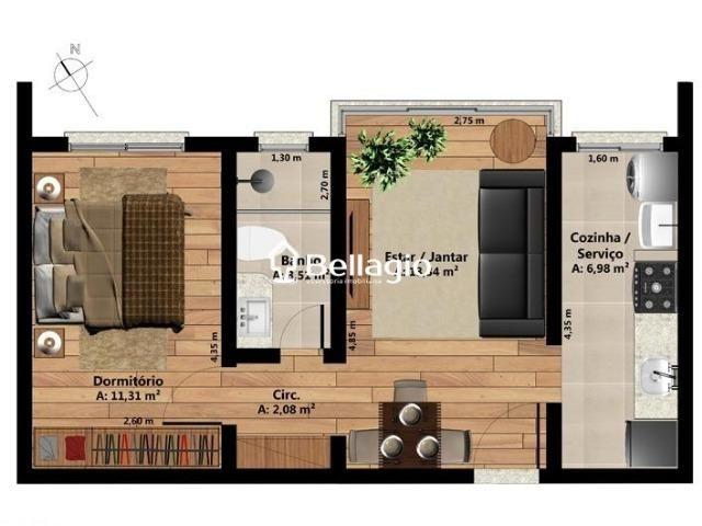 Apartamento novo de 1 dormitório, piso laminado, elevador e garagem - Foto 2