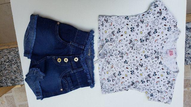 Conjunto infantil short e camiseta unicornio pop corn
