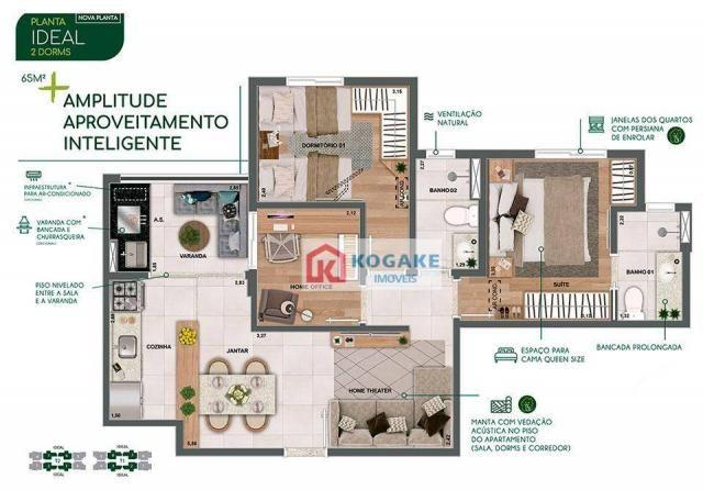 Apartamento com 2 dormitórios à venda, 65 m² por R$ 331.980 - Parque Industrial - São José - Foto 2