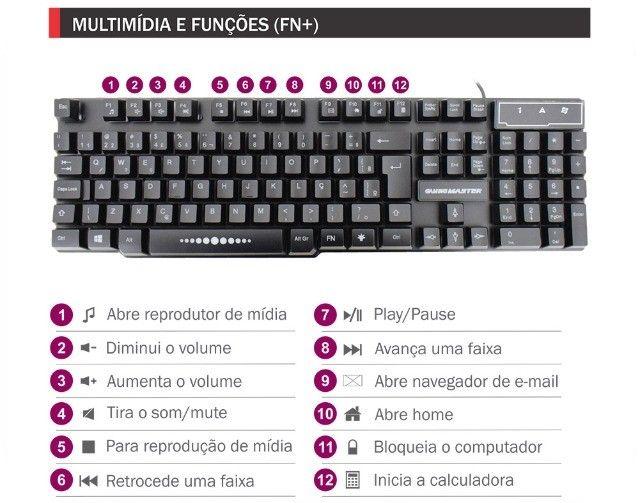 kit 3 em 1 gamer, tecaldo+ mouse+ mousepad - Foto 5