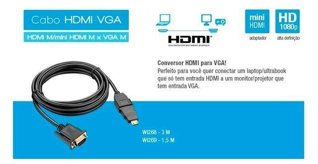 Cabo hdmi/vga Multilaser WI268 - Novo - Foto 3