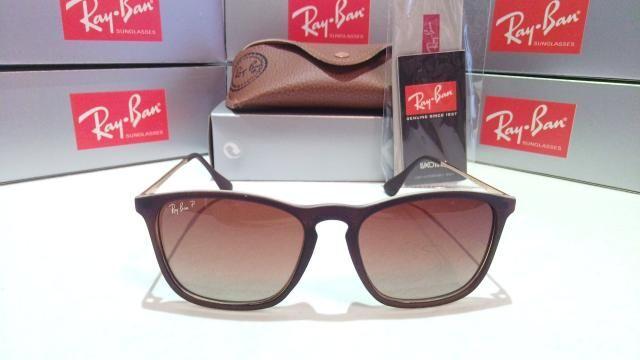 Óculos Sol Unissex RayBan Chris marrom polarizado - Bijouterias ... 92c0310cd7
