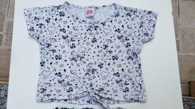 Conjunto infantil short e camiseta unicornio pop corn - Foto 3