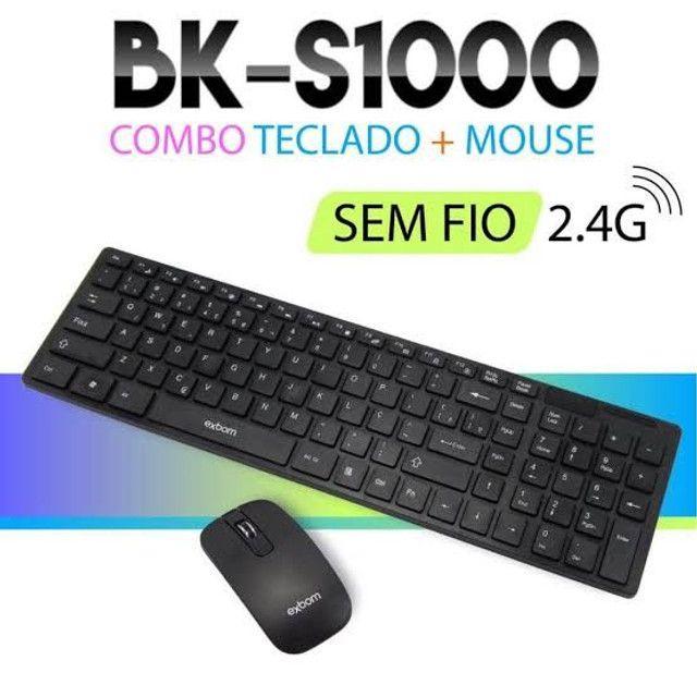 Kit teclado e mouse sem fio exbom com película para o teclado