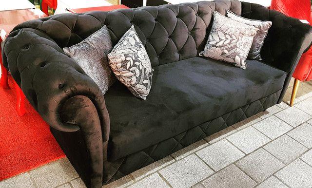 Sofá Luxo Capitonê Veludo Preto Hiper Confortável