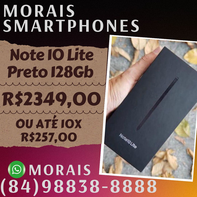 Samsung Note 10 Lite 128Gb Black (LACRADO+NOTA FISCAL)  - ( 8 4 ) 9 8 8 3 8 - 8 8 8 8