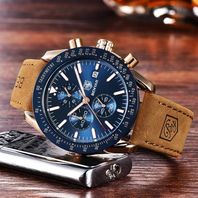 Relógio Masculino Benyar 5140 Original Dourado C/ Preto - Foto 4