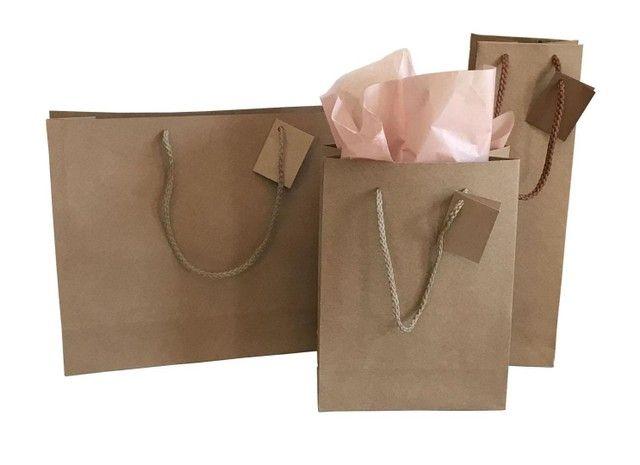 Trabalho com sacolas de papel Kraft e ofset branca  - Foto 4