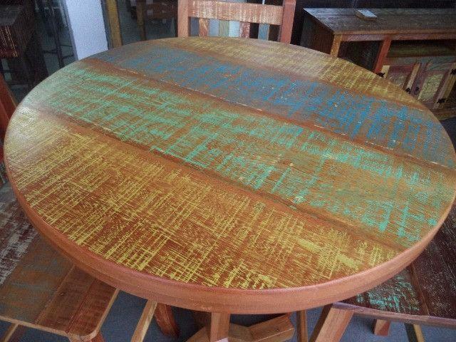 mesa alta bistro com 3 banquetas em madeira de demolição. - Foto 5