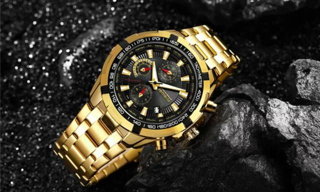 Relógio Masculino Temeite Luxo Dourado