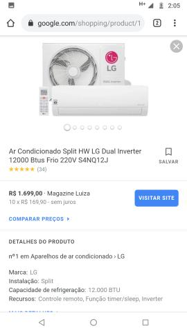 Ar condicionado lg 12000 btus da lg