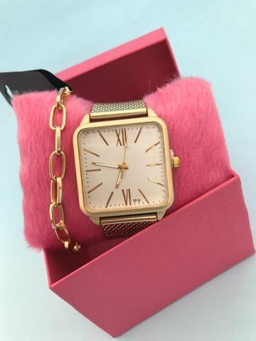 Kit relógio feminino + pulseira - Foto 2