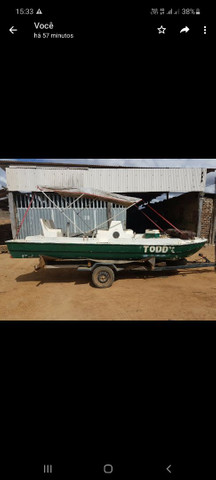 Catamarã de fibra com carreta e motor - Foto 2