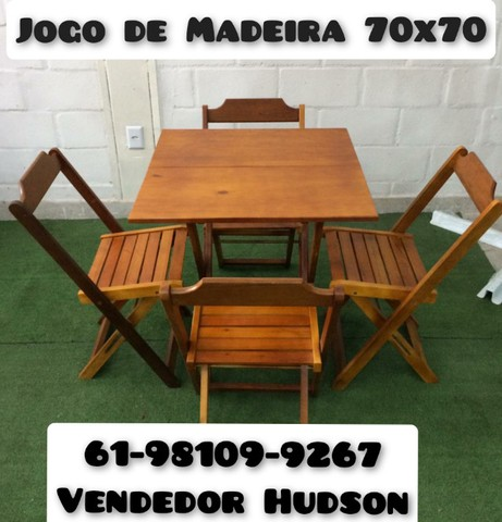 Jogo de Mesa com Cadeiras de Madeira Original - Foto 2