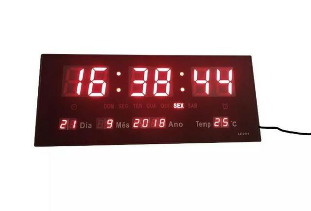 Relógio Parede Digital Led Bivolt Termômetro Calendário 36cm Ydtech - SKU: 82689