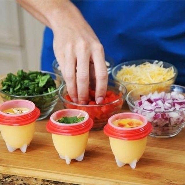 6 Forma De Silicone Cozinhar Ovos Fácil E Rápido Formas novo lacrado - Foto 2