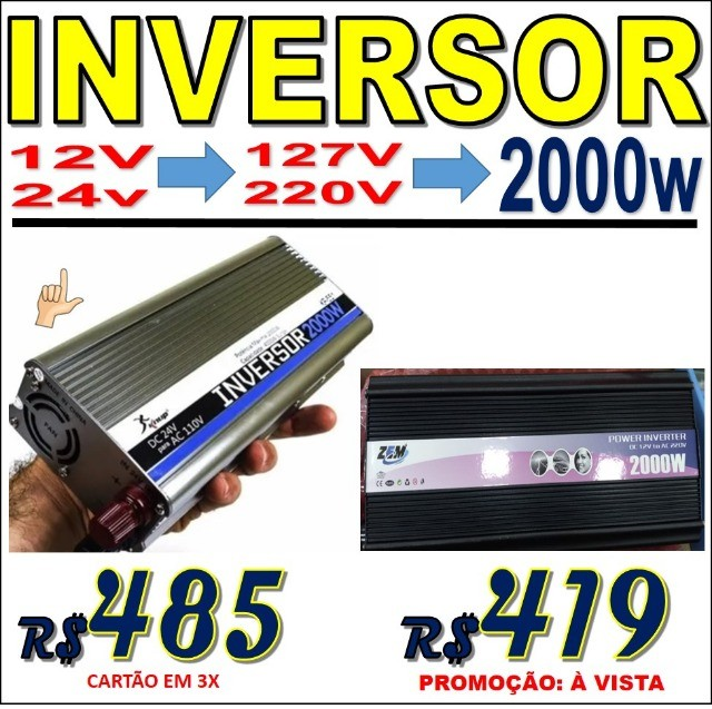 Inversor Conversor de Energia, voltagem 12 ou 24V para 127V ou 220V Várias potências - Foto 5