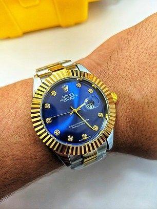 Rolex DateJust Misto/Azul ul linha Gold c/ caixa premium rolex (1ª Linha) - Foto 3