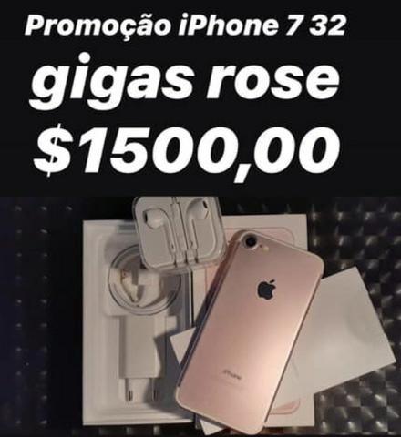 Promoção iPhone 7 rose 32 gigas estado de Zero garantia de 3 meses!$1400,00