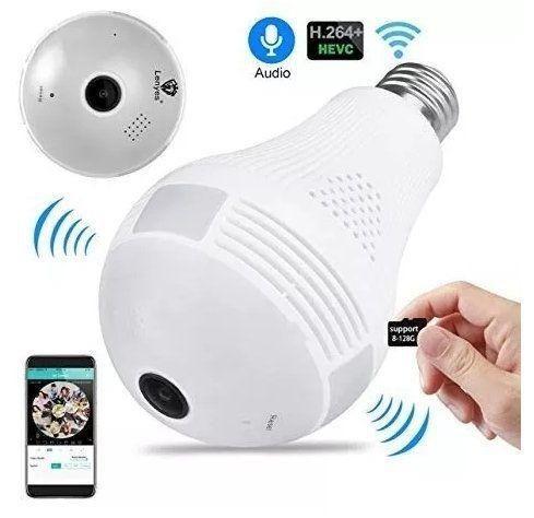Lampada Camera Espiã Ip Led Wifi Hd Panorâmica 360º (fazemos entrega)