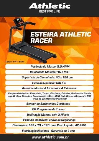 esteira modelo athletic racer com sensor de pulso e cardio