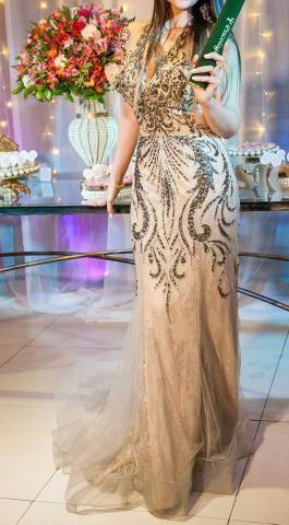Vestido nude luxo formatura festas casamentos