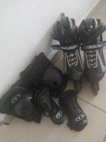 Patins Roller + Kit proteção