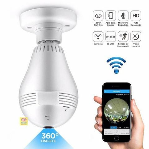Lampada Camera Espiã Ip Led Wifi Hd Panorâmica 360º (fazemos entrega) - Foto 5