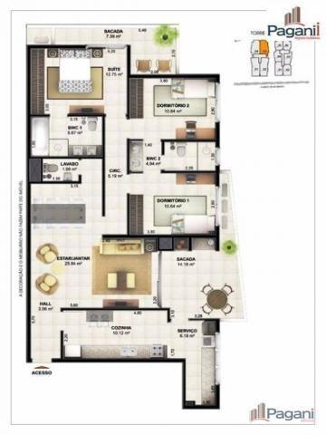 Apartamento com 3 dormitórios à venda, 126 m² por R$ 817.000,00 - Centro - Palhoça/SC - Foto 2