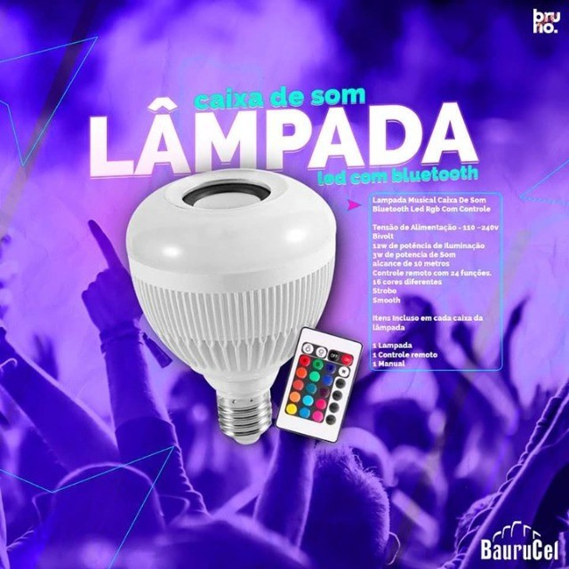 Lâmpada Led RGB com Caixa de Som Ideal Para Decorar Ambiente - Foto 5