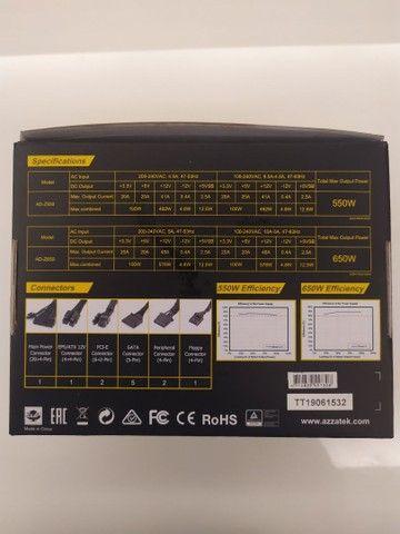Fonte p/ desktop // Azza Psaz 650w // Certificado 80 Plus Bronze // Usada - Foto 4