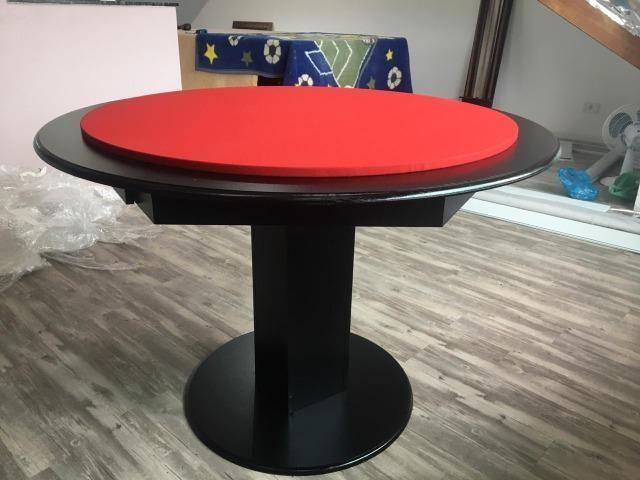 Mesa Carteado | Mesa Preta | Tecido Vermelho | Modelo: CRZC9027
