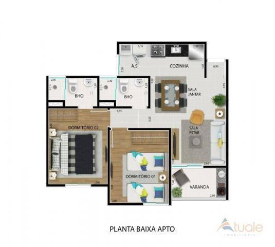 Apartamento com 2 dormitórios à venda, 59 m² - jardim santa rita i - nova odessa/sp - Foto 18