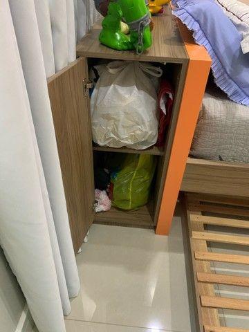 Cama com colchao tamanho 1x1,98, cama auxiliar, com painel para TV   - Foto 3