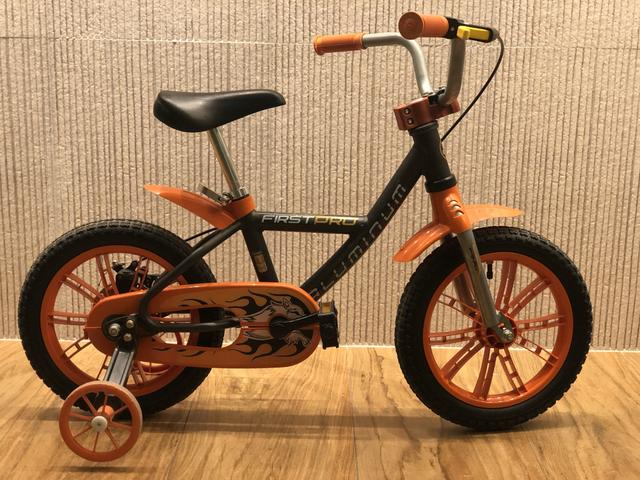 Bicicleta Infantil First Pro Masculina Aro 14 Alumínio - Nathor Laranja/Preta