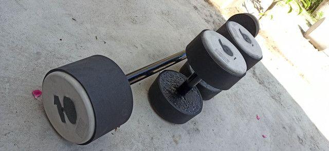 Barras e halteres de concreto emborrachados - Foto 3