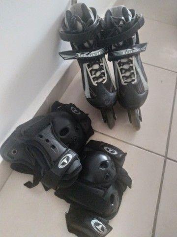 Patins Roller + Kit proteção - Foto 2