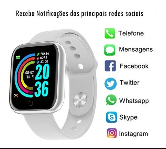 Relógio Inteligente Smartwatch D20 - Branco