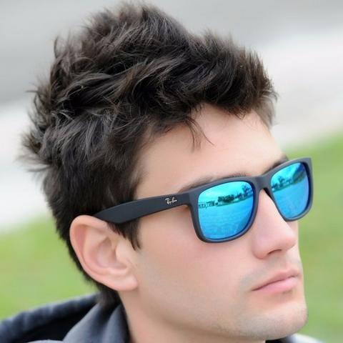 oculos ray ban justin azul espelhado