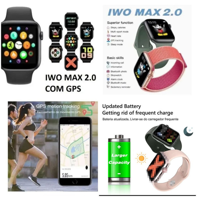Smarth watch iwo max 2.0, faz e recebe chamadas, mais de 30 interfaces!! - Foto 5