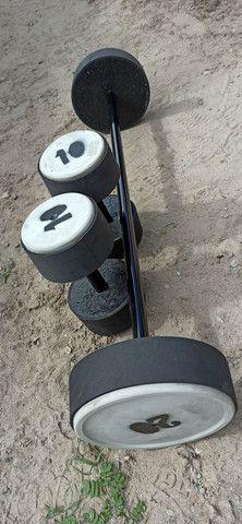 Barras e halteres de concreto emborrachados - Foto 5