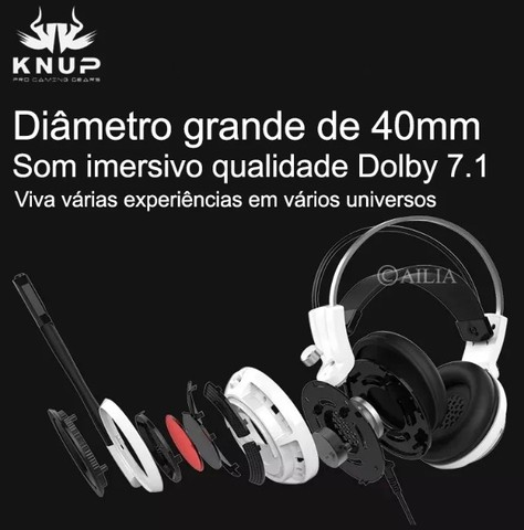 Headset Gamer 7.1 Pc Led Com Microfone Kp-400 - Loja Natan Abreu  - Foto 5