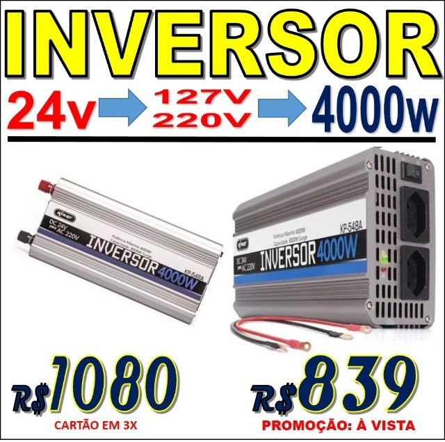 Inversor Conversor de Energia, voltagem 12 ou 24V para 127V ou 220V Várias potências - Foto 6