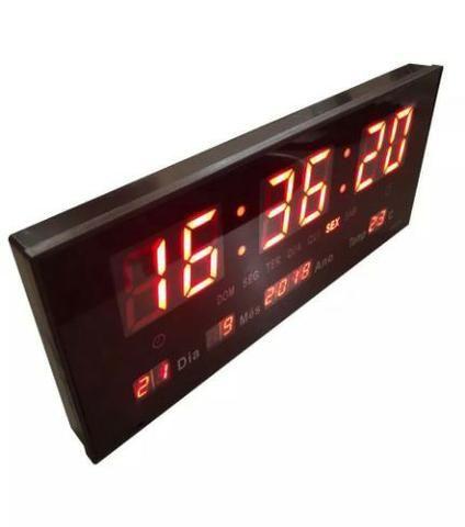 Relógio Parede Digital Led Bivolt Termômetro Calendário 36cm Ydtech - SKU: 82689 - Foto 2